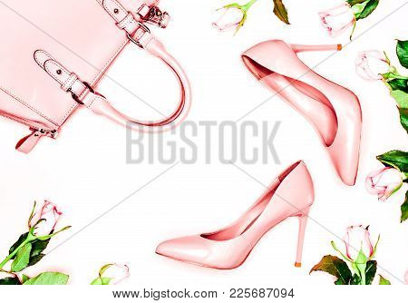 Pastel Pink Women High Heel Shoes On Blue Background. Flat Lay, Top View Trendy Fashion Feminine Bac