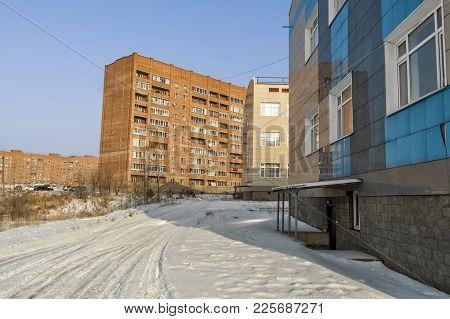 Multi-storey Residential Buildings And Secondary School. Modern Architecture. Kazakhstan, Ust-kameno