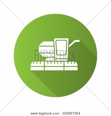 Combine Harvester Flat Design Long Shadow Glyph Icon. Agricultural Implement. Vector Silhouette Illu