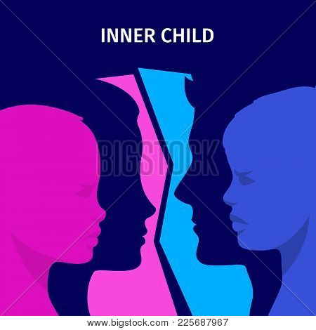 Concept Of Inner Child. Silhouette Of A Man And Woman Showing Their Inner Child Living In Their Mind