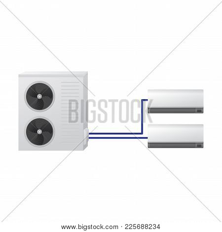 The Air Conditioning System Vector Illustration. One Outdoor And Two Indoor Unit. Modern Multi-split