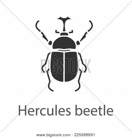 Hercules Beetle Glyph Icon. Insect. Dynastes. Silhouette Symbol. Negative Space. Vector Isolated Ill