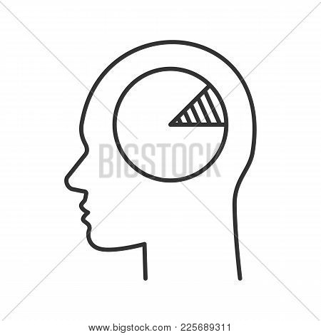 Human Head With Chart Inside Linear Icon. Analytical Mind. Thin Line Illustration. Economist, Accoun