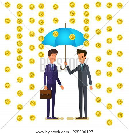 Concept Of Cryptocurrency. Businessmen Mining Digital Currency. Two Businness People Stand Under An