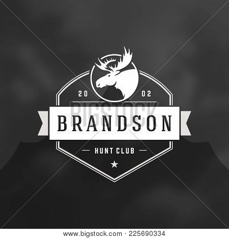 Forest Camping Logo Emblem Vector Illustration. Outdoor Adventure Leisure, Moose Head Silhouette Shi