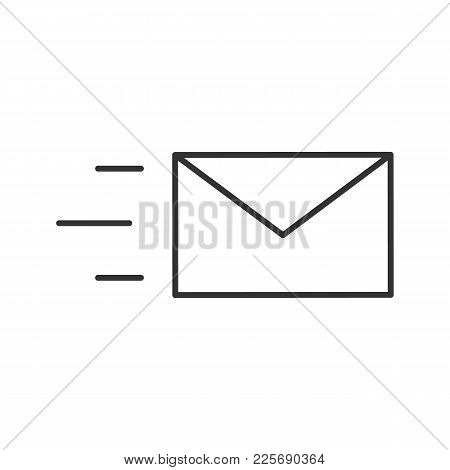 Flying Envelope Linear Icon. Chatting. Thin Line Illustration. Email. Quick Message. Contour Symbol.