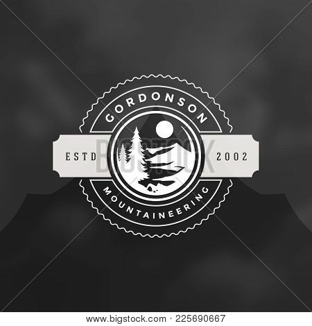 Camping Logo Emblem Vector Illustration. Outdoor Adventure Expedition, Pine Trees And Mountains Silh
