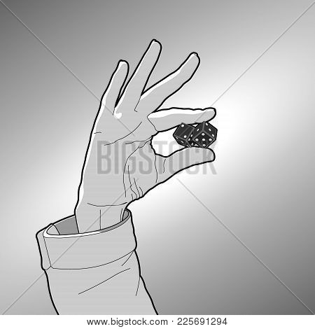 Two Fingers Holding Two Black Gambling Dice Outlined On The Grey Background. Human Hand And Cubes Wi
