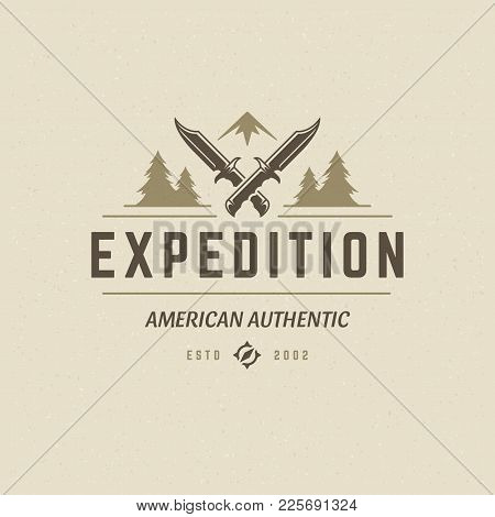 Camping Logo Emblem Vector Illustration. Outdoor Adventure Expedition, Knifes And Mountains Silhouet