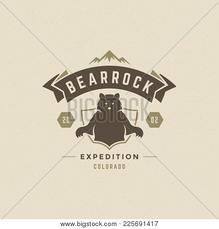 Mountains Logo Emblem Vector Illustration. Outdoor Adventure Expedition, Bear Silhouette Shirt, Prin