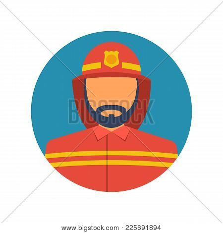 Fireman Icon. Vector Illustration Flat Design. Isolated On White Background. Firefighter In Uniform.