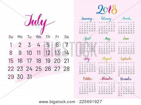 Colorful Planner, 2018, July Separately, White-blue Background, Lettering, Artboard. Stylish Annual