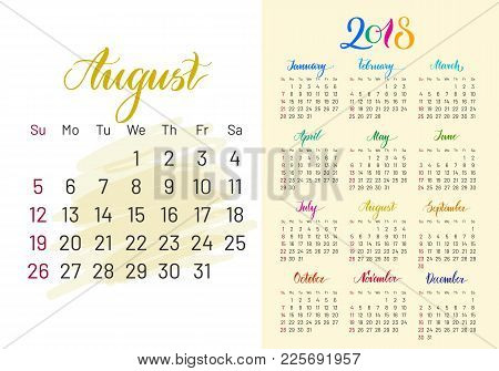 Colorful Planner, 2018, August Separately, White-blue Background, Lettering, Artboard. Stylish Annua