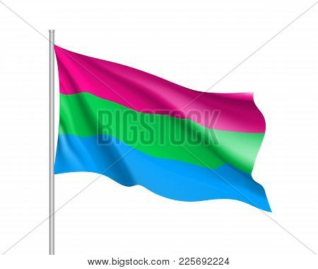 Polysexuality Symbol Movement Lgbt, Realistic Icon. Waving Flag Of Sexual Minorities, Gays, Lesbians