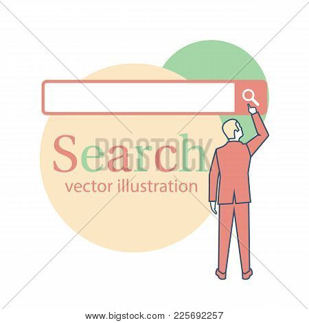 Businessman Uses The Application Search Bar. Searching Concept. Modern Technologies. Vector Illustra