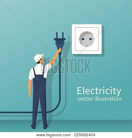 Electric Power Plug Holding In Hand. Unplug, Plugged In Wall Socket. Vector Illustration Flat Design