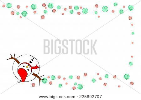 Snowman (top View) With Red And Green Striped Wheels, Isolated On White Background - Center Copy-spa