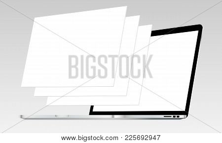 Laptop Mockup With Blank Screen And Blank Web Wireframing Pages. Web Design Concept For Showing Resp
