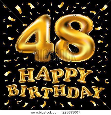 48 Year Anniversary Golden Heart, 48Th Anniversary Decorative Golden Heart Design - Vector Eps10