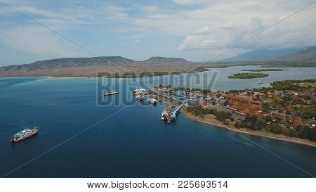 Aerial View Ferry Port Gilimanuk With Ferry Boats, Vehicles And Infrastructure, Bali, Indonesia. Fer