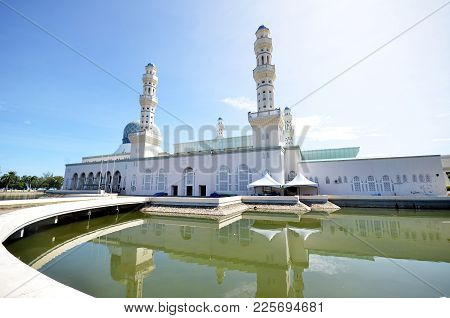 Kota Kinabalu, Malaysia- Jun 19, 2017: Masjid Bandaraya Kinabalu, Borneo, Sabah. The Kota Kinabalu C