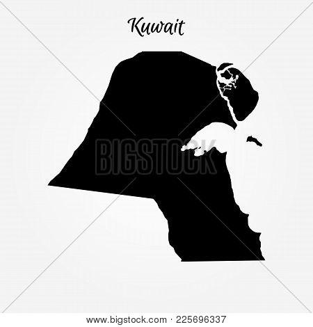 Map Of Kuwait. Vector Illustration. World Map