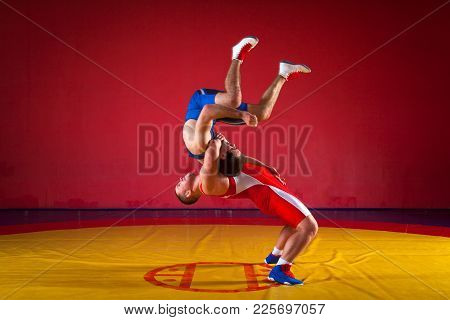 Two young men in blue and red wrestling tights are wrestlng and making a suplex wrestling on a yello