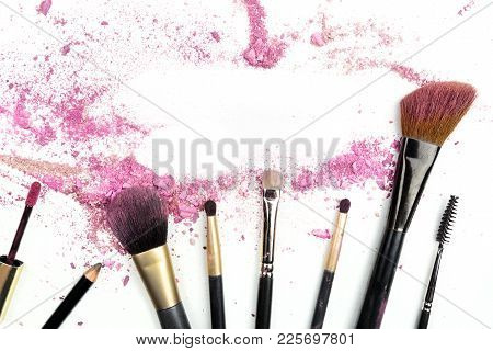 Makeup Brushes And Powder, Forming Frame For Copy Space