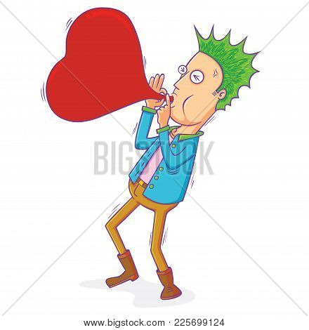 Illustration Of A Punk Man Blowing Love Balloon