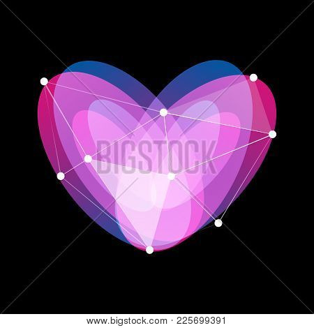 Isolated Unusual Abstract Glass Vector Symbol Of Purple, Blue And Violet Color Heart. Colorful Love