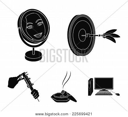Game Darts, Reflection In The Mirror And Other  Icon In Black Style. Cigar In Ashtray, Calipers In H