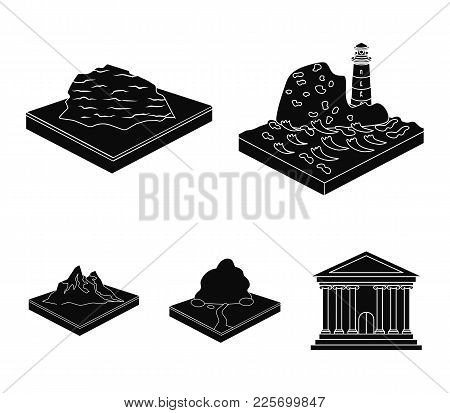 Mountains, Rocks And Landscape. Relief And Mountains Set Collection Icons In Black Style Isometric V