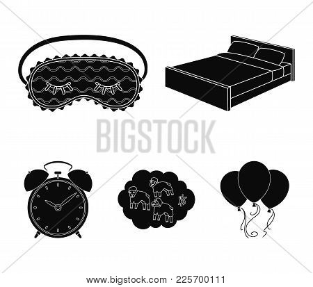 A Bed, A Blindfold, Counting Rams, An Alarm Clock. Rest And Sleep Set Collection Icons In Black Styl