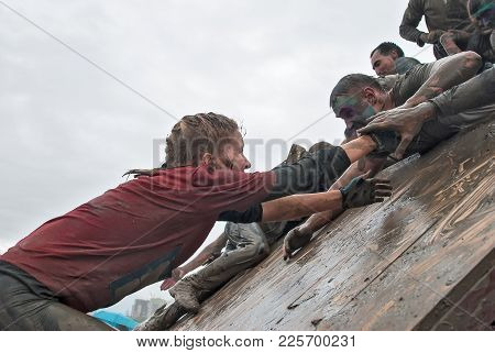 Tyumen, Russia - August 8, 2015: Steel Character Command Extrim Race Project On Krugloe Lake And Gag