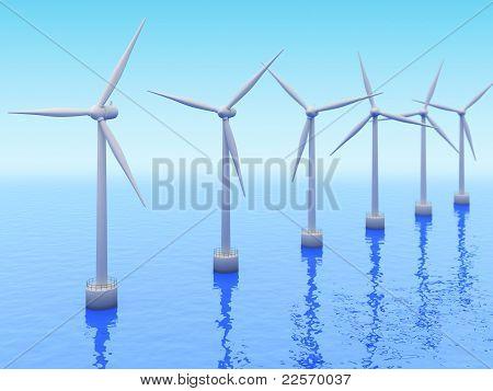 Many Windmills On Sea