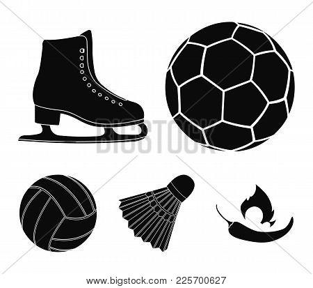 A Soccer Ball, Figure Skating Skates, A Shuttlecock For A Badminton, A Ball For Volleyball. Sport Se