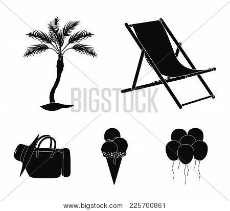 Beach, Palm Tree, Ice Cream.summer Vacation Set Collection Icons In Black Style Vector Symbol Stock