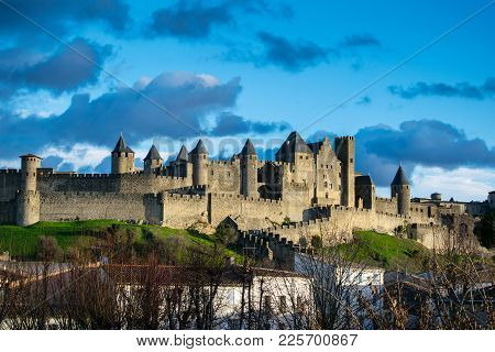 Panoramic View At The Old City Of Carcassonne, France