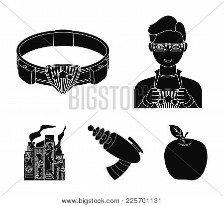 Man, Young, Glasses, And Other  Icon In Black Style. Superman, Belt, Gun Icons In Set Collection.