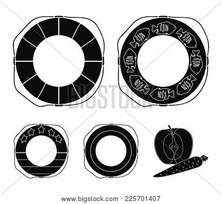 Different Types Of Colorful Swimming Circles. The Swimming Circle Set Collection Icons In Black Styl