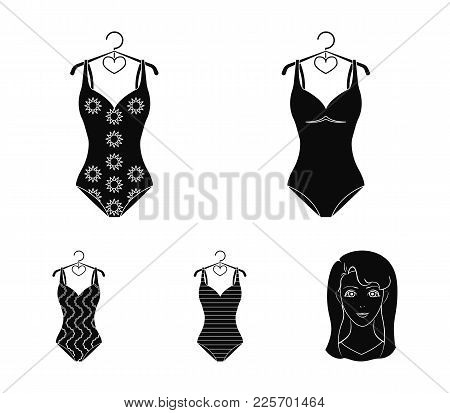 Different Kinds Of Swimsuits. Swimsuitsset Collection Icons In Black Style Vector Symbol Stock Illus