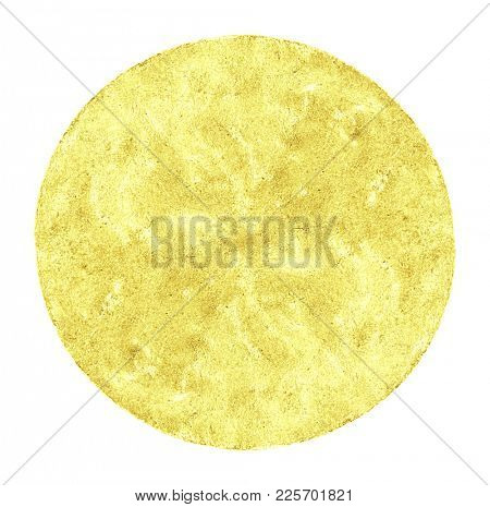 mauled by a coin made of golden metal, isolated on white