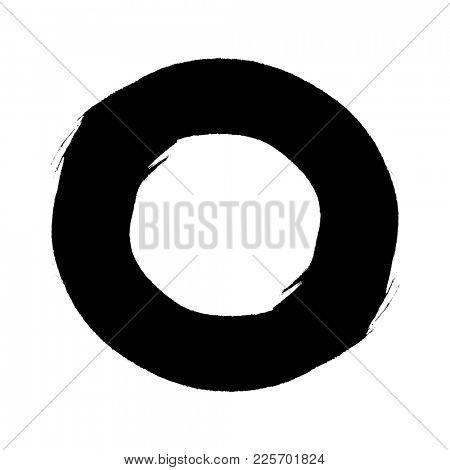 grunge circle a drawing with a brush, isolated on white