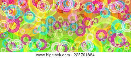 banner of multicolored circles on a green background