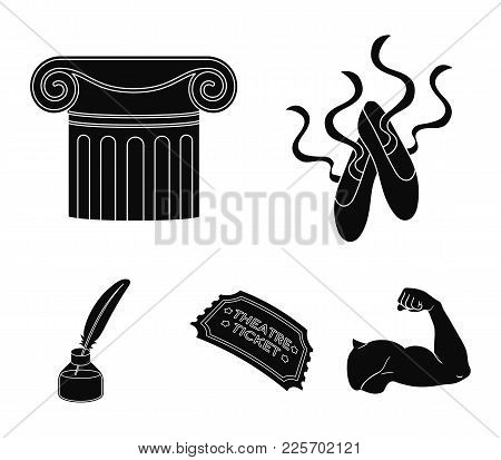 Pointe Shoes, Column, Theater Ticket, Inkwell With Feather. Theater Set Collection Icons In Black St