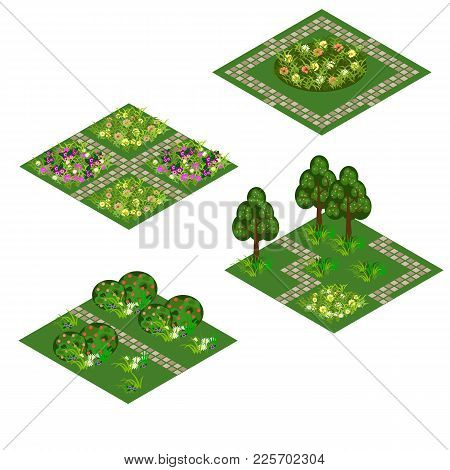 Garden Isometric Tile Set. Asset For Design Garden Landscape Scenes With Trees, Bushes, Flowers, Gra