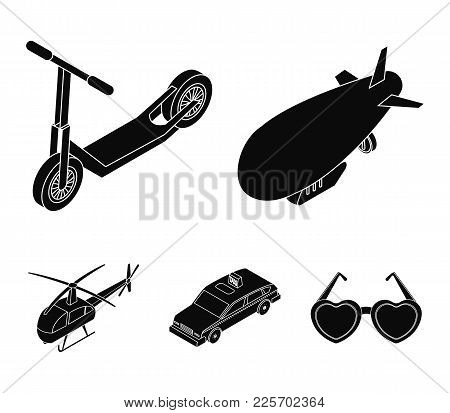 A Dirigible, A Children's Scooter, A Taxi, A Helicopter.transport Set Collection Icons In Black Styl