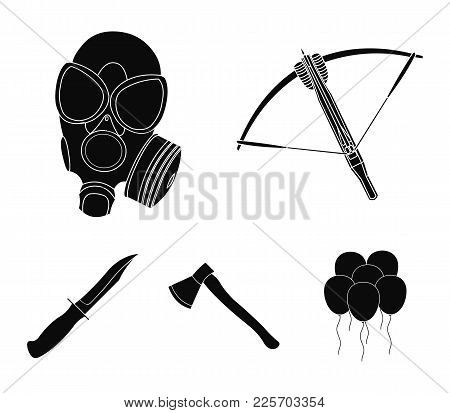 Crossbow, Gas Mask, Ax, Combat Knife. Weapons Set Collection Icons In Black Style Vector Symbol Stoc
