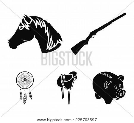 A Gun, A Horse's Head, A Saddle, A Catcher Of Dreams.wild West Set Collection Icons In Black Style V
