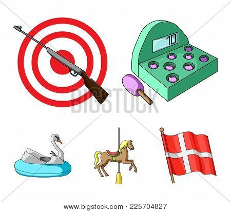 A Game With A Bat, A Target With A Gun, A Horse On A Carousel, A Swan Attraction. Amusement Park Set
